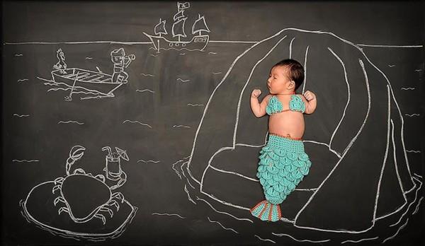 创意儿童照:宝宝黑板上的奇幻之旅