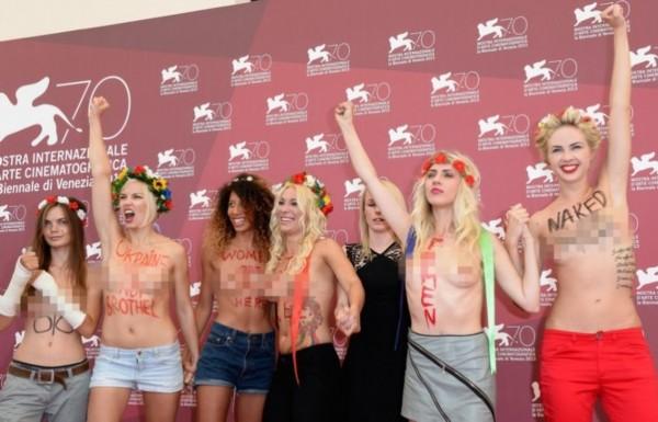 乌克兰淫乱电影_乌克兰女权团体裸体支持电影《乌克兰不是妓院》发布会