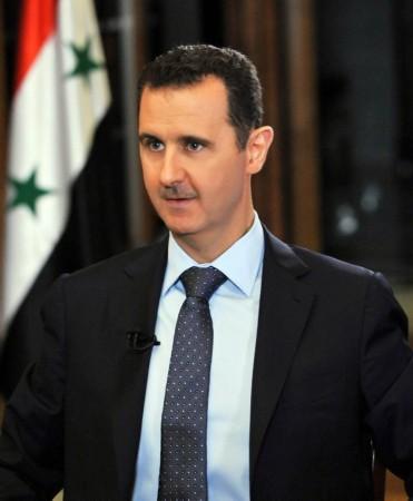 """叙利亚总统巴沙尔阿萨德在大马士革接受了CBS电视台""""今晨""""节目记"""