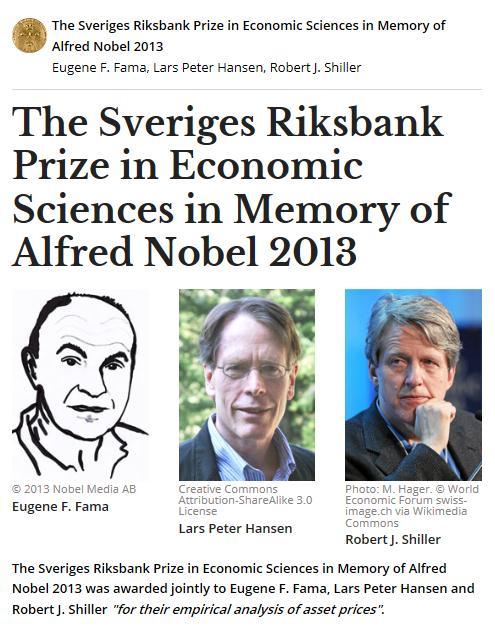 美国经济学家尤金·法马,拉尔斯·皮特·汉森以及
