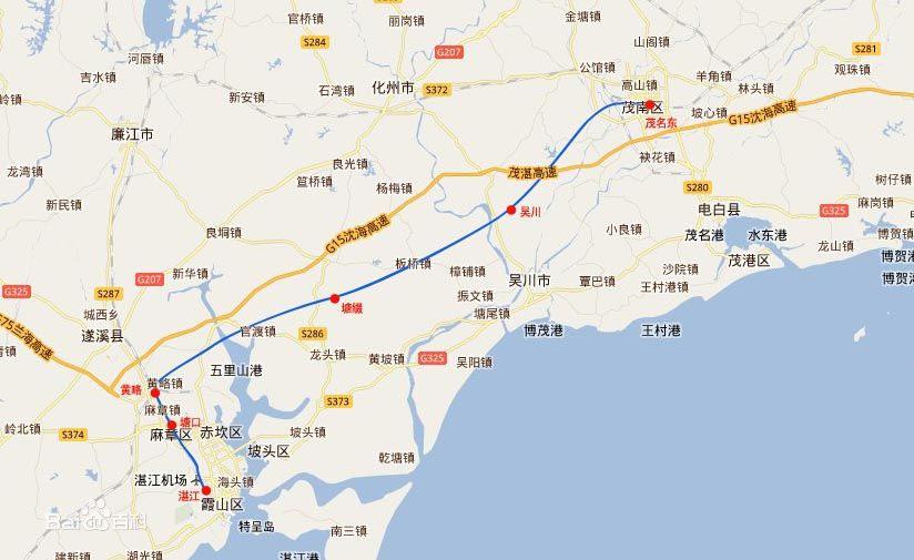 茂湛高铁线路图(网络图片)