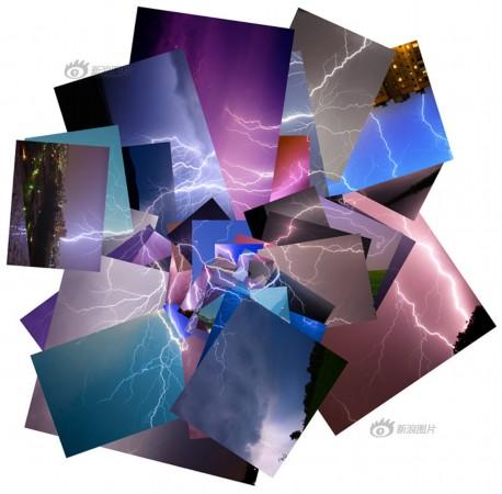 艺术家拼接图片将闪电变成电路