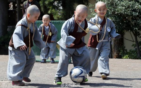 韩国寺院小和尚踢足球 被赞韩版一休哥[图]