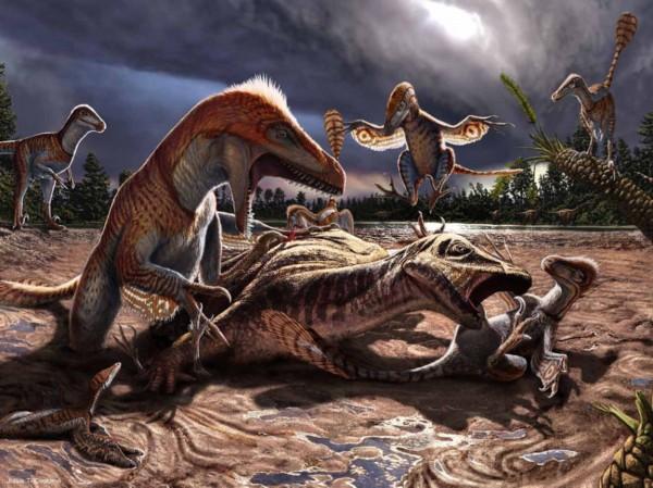 恐龙插图重现残酷史前世界:巨齿鲨捕杀铲齿象__海南网图片