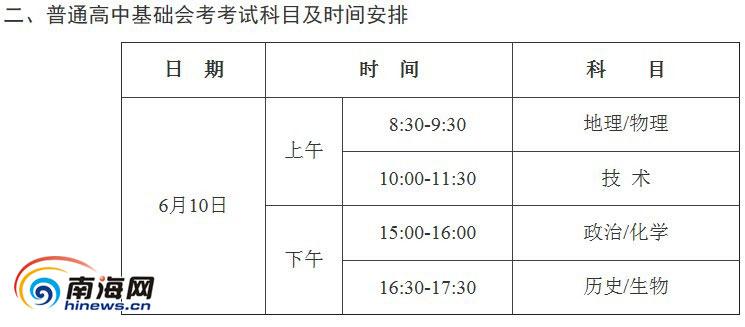 海南省2014年高中基础会考安排表图片