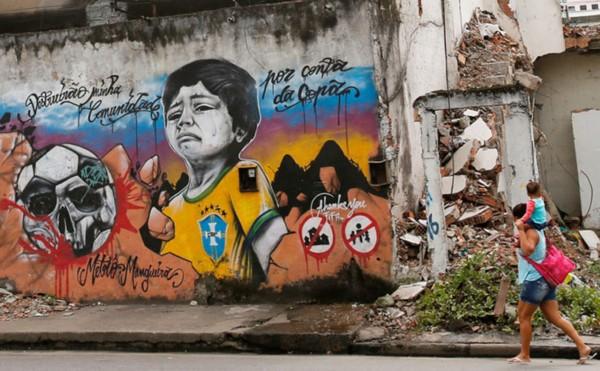 巴西民众在墙壁 涂鸦 抗议世界杯 高清组图 海高清图片
