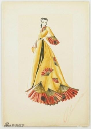 1939《乱世佳人》服装设计手绘图曝光(组图)