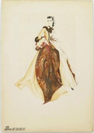 设计手绘图,图中展现了女主角费雯-丽饰演的斯嘉丽在片中的各套服饰.