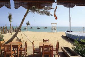龙栖湾海滩上,用渔船船体改造的海岸酒吧,别有一番风情。海南日报记者 武威 特约记者 孙体雄 摄