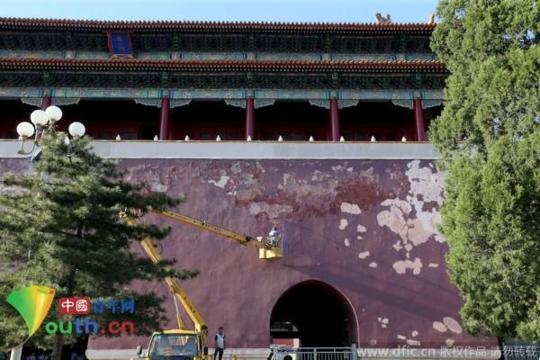 北京端门开始维修 迎建国65周年国庆