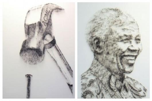 东方网8月27日消息:据英国《每日邮报》8月26报道,英国沃灵顿市的一名52岁的艺术家用锤子和钉子制作出了一幅幅美丽的名人肖像,其中包括玛丽莲梦露、披头士,甚至是英国女王。这位艺术家名叫大卫福斯特(David Foster),目前已经用完了近3万颗钉子。   据报道,大卫的每件作品大约要花3周的时间来完成,售价在2000英镑到4000英镑之间(约合人民币20000至40000元)。他说:作画的整个过程都使我紧张,因为我要用铁锤和一盒钉子布置一副艺术品,而我依据的仅仅是一张照片。   大卫创作