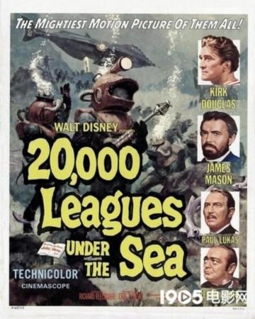 1954年《海底两万里》海报.