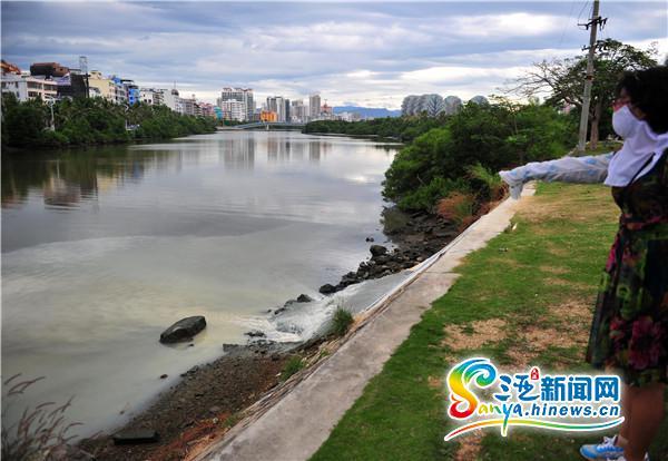 市民爆料污水直排三亚临春河半边河水染成灰褐色