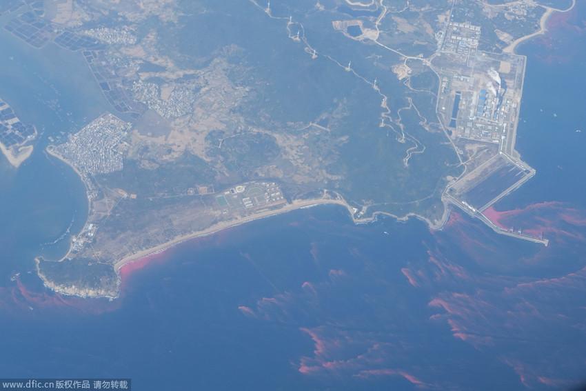 高清组图:海南琼州海峡现大面积红色带