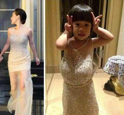 小s晒与女儿穿同款衣服对比照