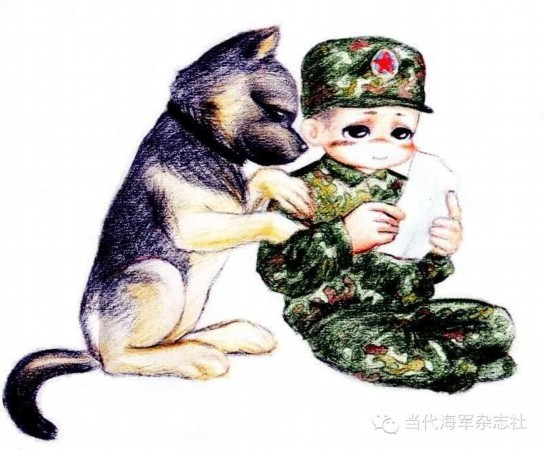 超萌解放军军营彩铅绘画