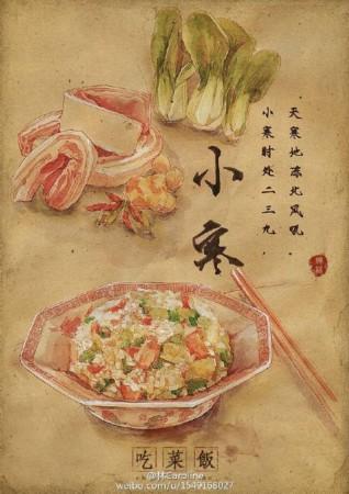 """才女手绘""""24节气美食图"""":刺激吃货们的味蕾"""