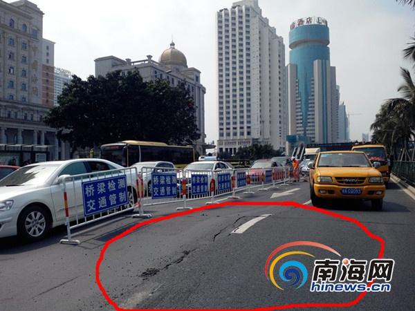 <b>海口滨海大道隆起裂缝路面已实施交通管制损坏路面待修复</b>