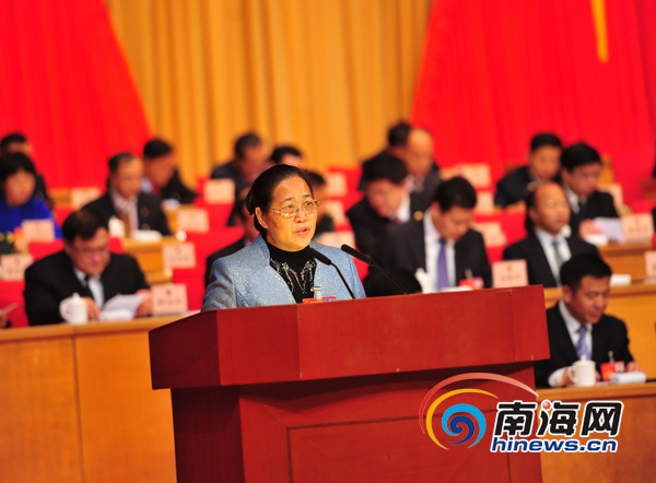 海南省五届人大三次会议二次全会符跃兰作省人大常委会工作报告