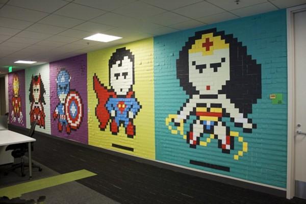 美员工用8000张便利贴打造创意办公室图片