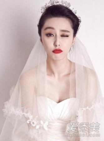 张馨予pk范冰冰 明星婚纱照新娘发型谁最美