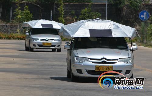 澄迈一驾校教练车上装伞 被疑存安全隐患(图)