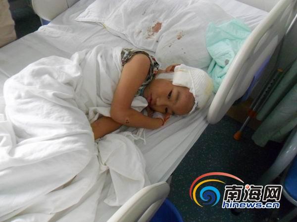 海口小车撞倒母子后逃逸受伤儿童面临无钱治疗