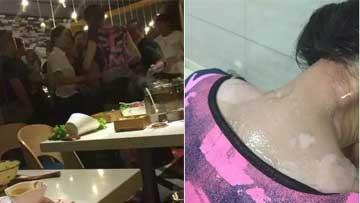 女顾客给差评 服务员热汤浇头