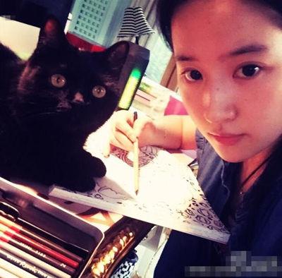 刘亦菲素颜画画显清纯 桌上猫咪抢镜高清图片