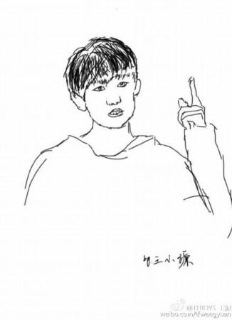 王源晒漫画自画像 简笔画十分传神(图)