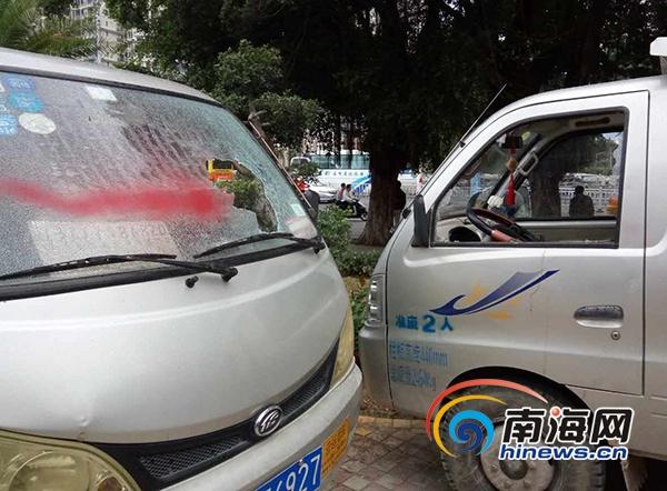 <b>三亚一停车场内数辆货车莫名被砸车喷漆警方调查</b>