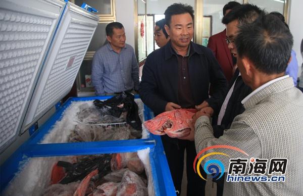 三沙市委書記、市長肖傑(中)在漁家樂了解情況,並提出建議。
