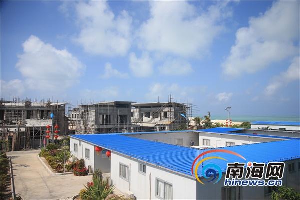 趙述島的安居工程,多棟房屋已經封頂。