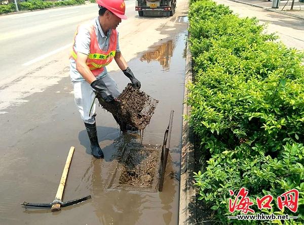 海口暴雨致市区9条路段积水原因竟是落叶堵塞排水通道