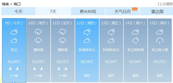 雷雨+大风!10日起海南部分地区将出现强对流天气