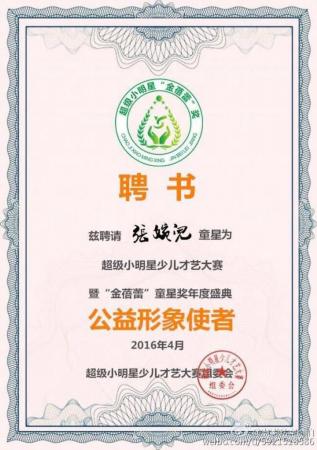 张婉儿担任浙江卫视超级小明星才艺赛公益形象