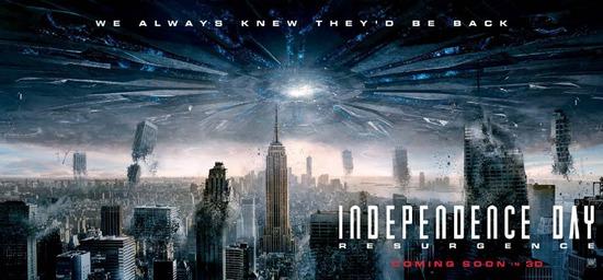 《独立日2》横版海报 伦敦之眼被吸入外星飞船