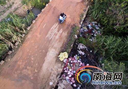 乐东保显农场无垃圾清运站田边和水渠到处是垃圾