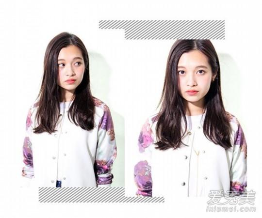 Style 3   这款简单的中分长发直发造型非常适合长脸女生,中分的长刘海一侧紧贴脸型散落,另一侧塞耳露出了妹子精致的脸型,自然黑的发色,彰显出质感,随性的长发发尾有点外翘凌乱,尽显迷人魅力。
