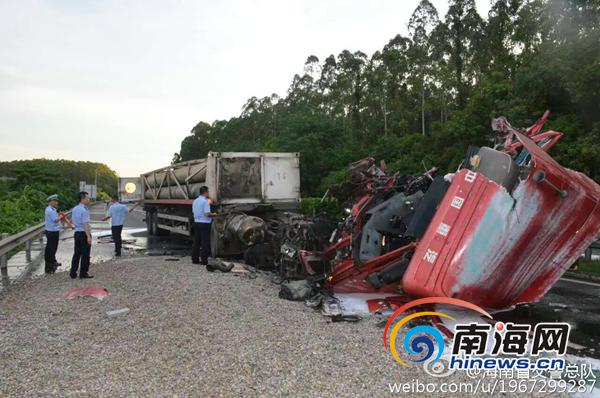 海南西线高速一运输天然气罐车追尾货车致1死2伤