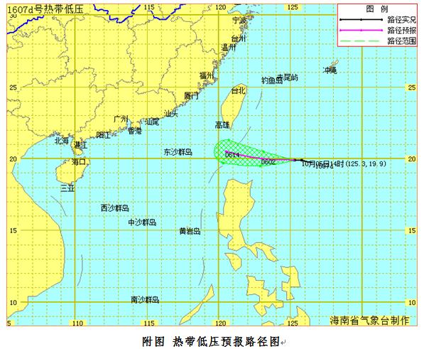 热带低压6日进入南海东北部6日至8日全岛有阵雨