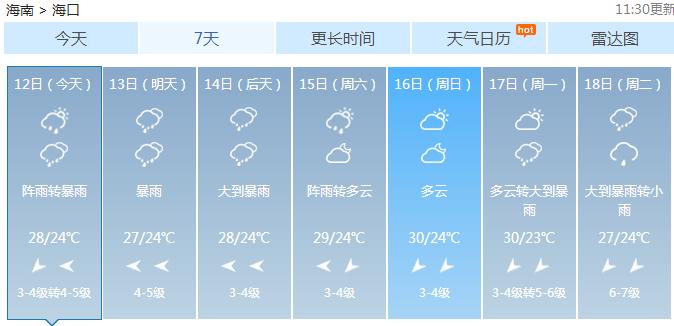<b>海南发布雷雨大风黄色预警 东部海面已出现雷雨大风天气</b>
