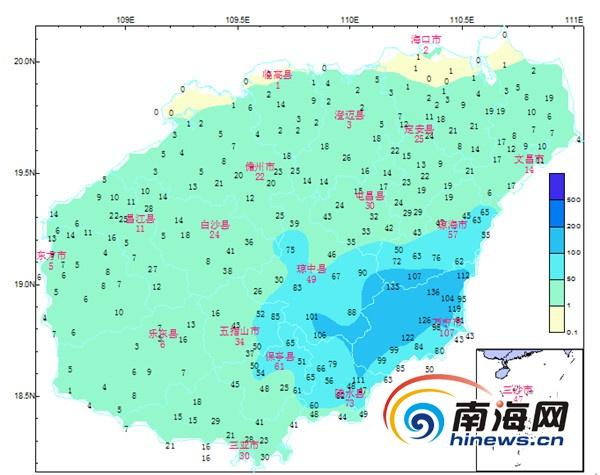 海南变更暴雨三级预警 13日~14日东南半部强降水