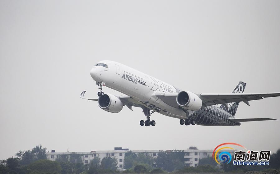 组图| 空客A350测试飞机开启中国首秀 航展后将访问海口