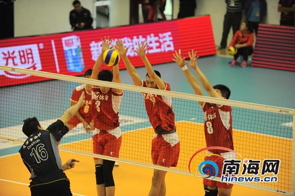 八一盈冠男排主场迎战天津男排总比分3比0完胜对手