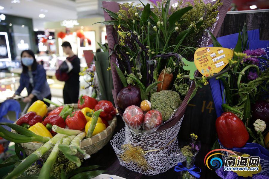 """各类新鲜蔬果供市民制作diy""""蔬菜花束""""."""