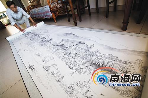 <b>85岁画师钢笔绘制18米三亚海滩风情画卷</b>