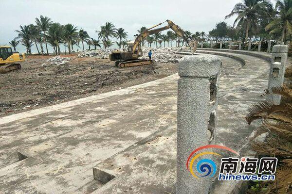 海口西海岸开展生态修复 轮滑赛场等硬质铺装被拆除
