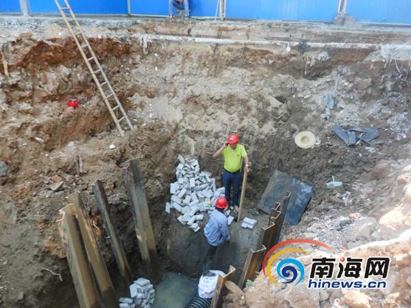 海口美舍河水电桥提升泵站开工日提升污水4千立方米