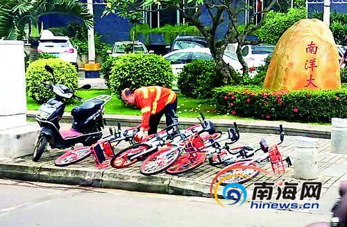7天扶正1133辆共享单车环卫工获海口市委书记点赞